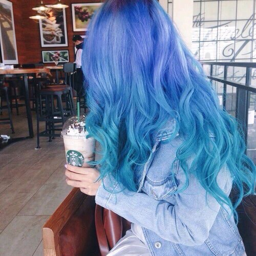 alternative, beauty, blue, blue hair, chic, color, fashion, girl, hair color, hairstyle, jeans, starbucks, style