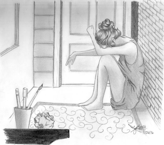 crying girl, lonely girl, pencil sketch, sad girl, girl drawing ...