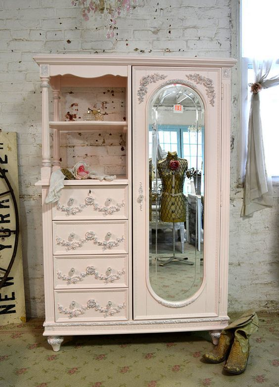 painted cottage chic shabby pink french armoire by. Black Bedroom Furniture Sets. Home Design Ideas
