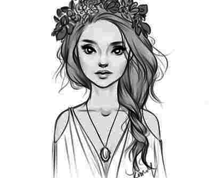 Girl with flower crown drawing - photo#12