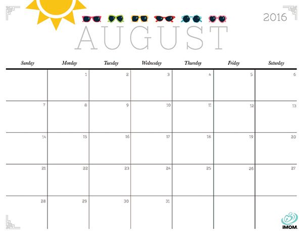 picture about Printable August Calendar Pdf referred to as 2016 August Calendar Printable - August 2016 Calendar