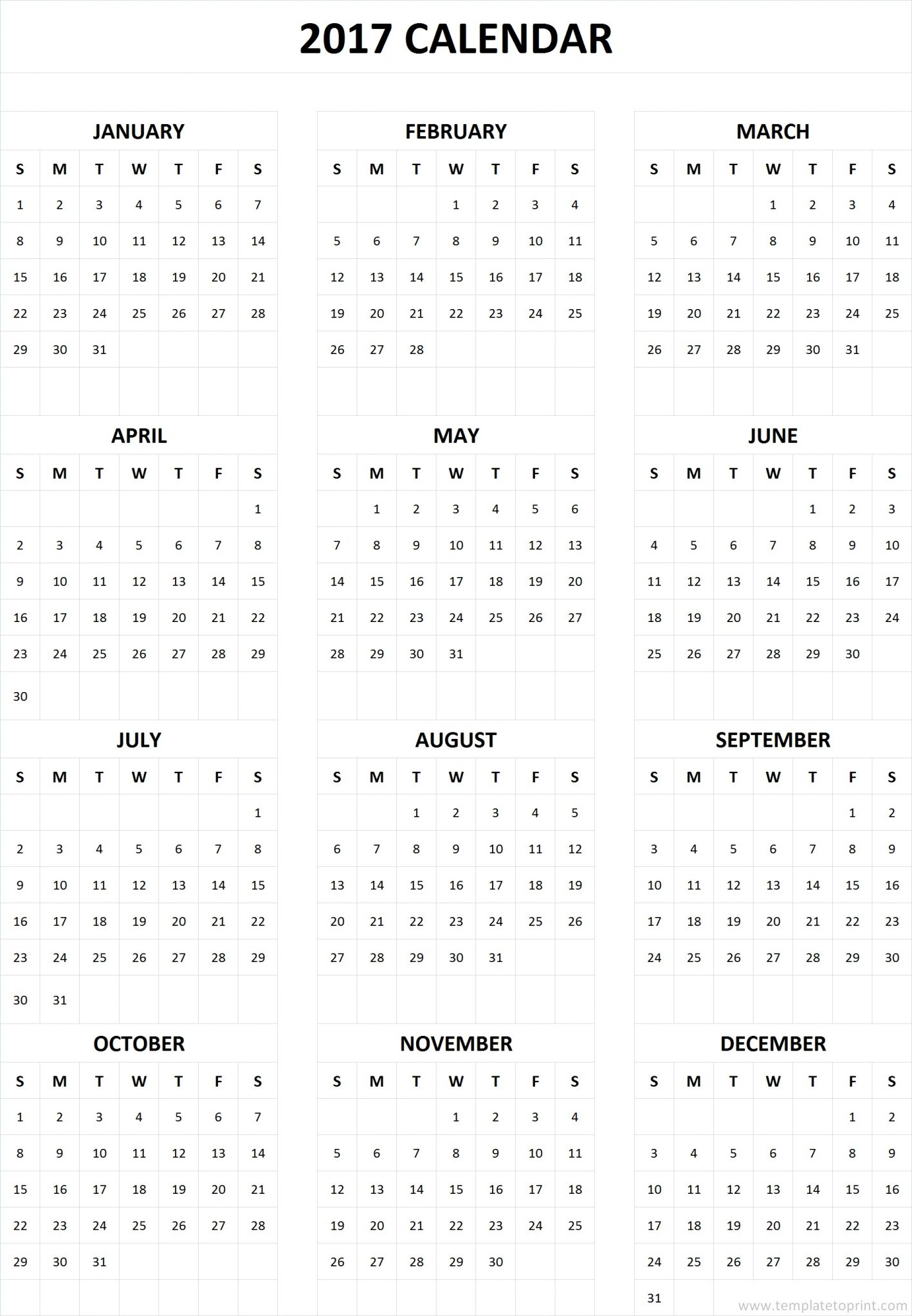 image regarding Printable Calendar on One Page identified as 2017 Calendar Printable 1 Website page Blank Calendar 2017