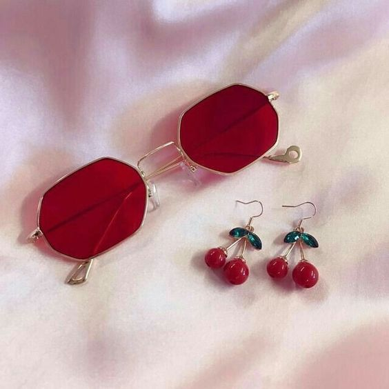 cherry, earings and sunglasses