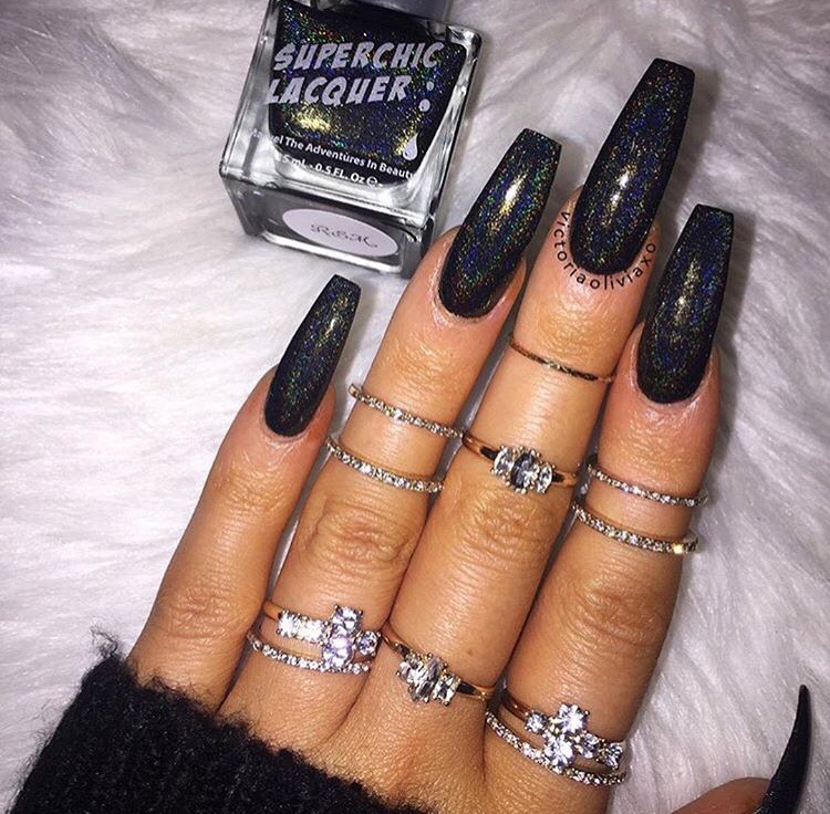 Black Nails Nails Goals Claws Inspo And Girly Inspiration Image 7103575 On Favim Com