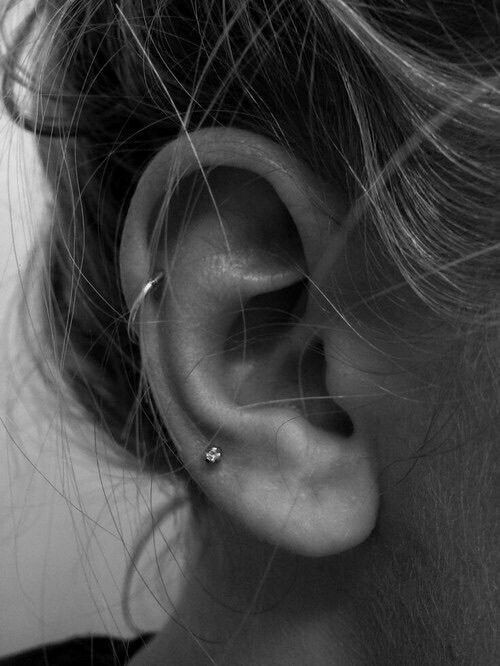 tragus, helix, white and Hot