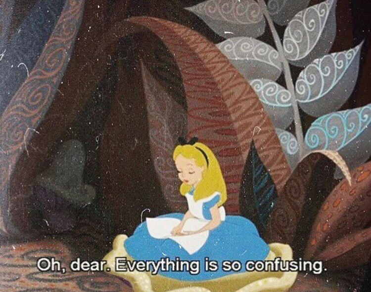 alice in wonderland, confused and sad