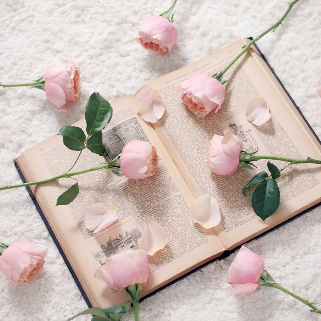 book, flowers, pastel and pink