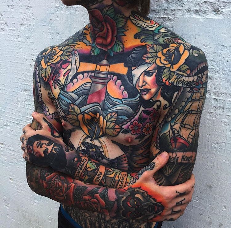 Tattoos, colorful, full body and ink