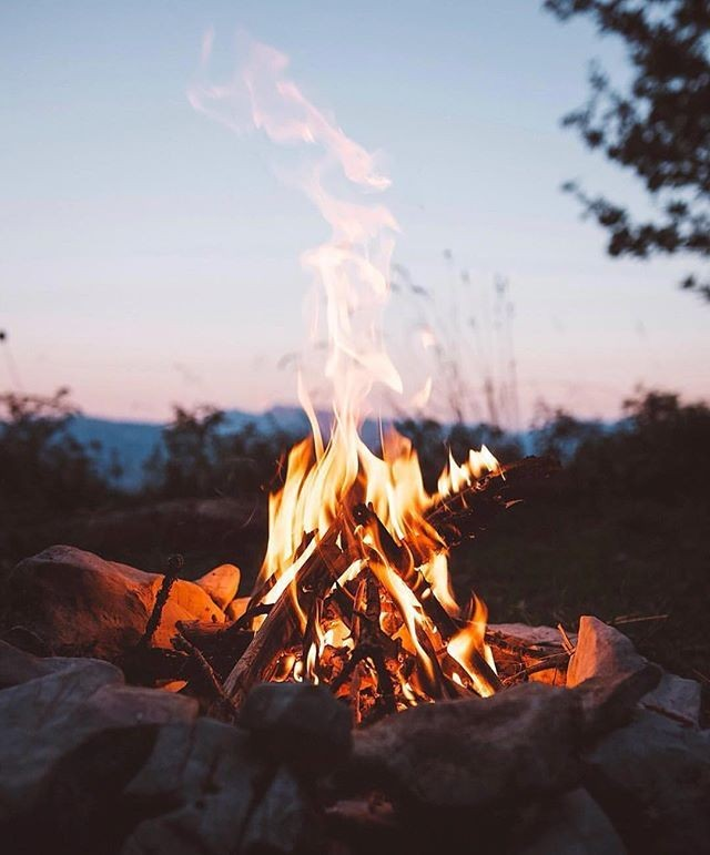 campfire, camping, fire and holiday