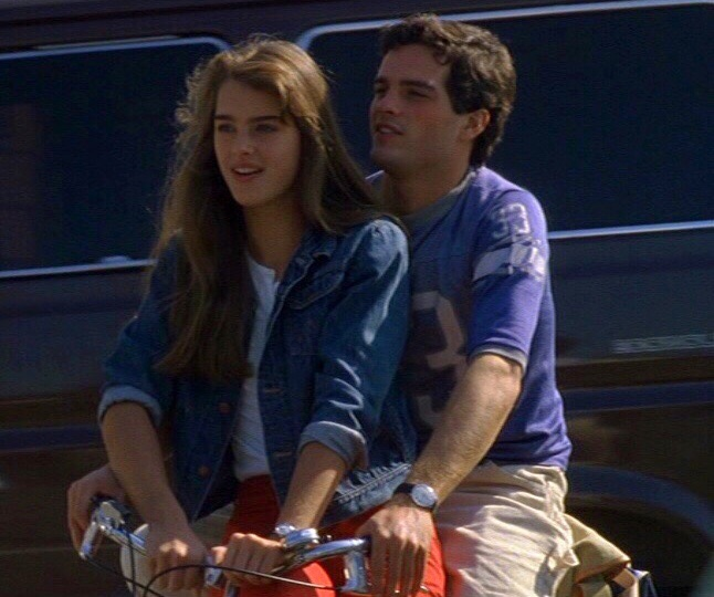 brooke shields, martin hewitt, couple and bicycle