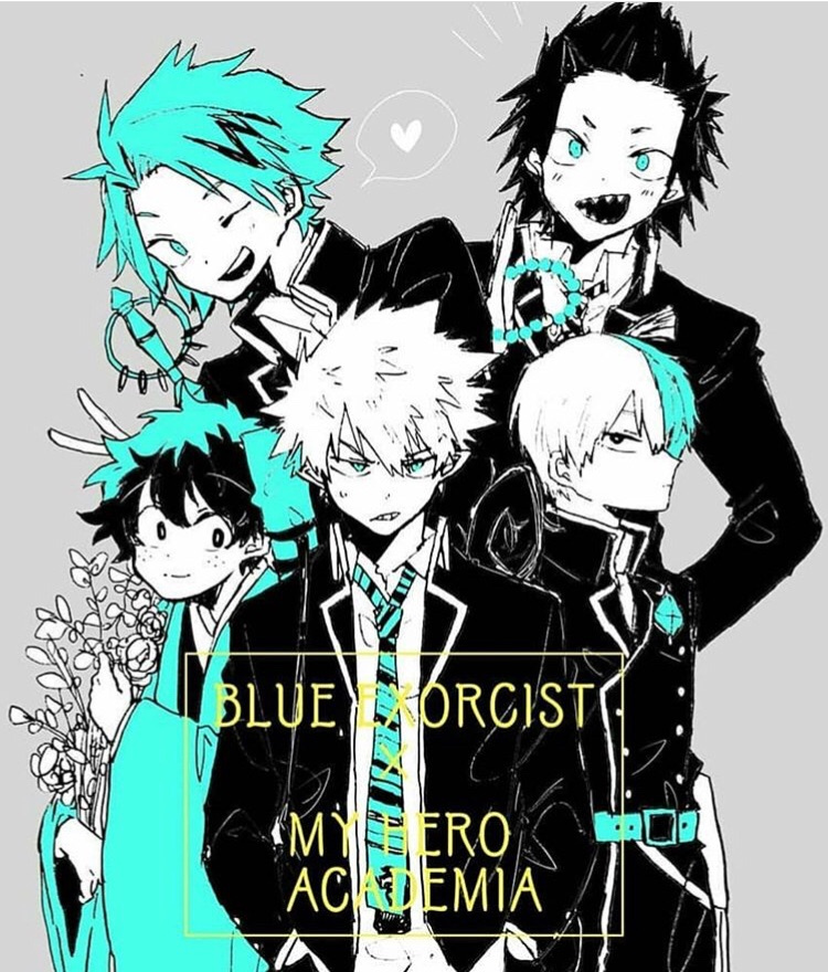 crosover, kirishima, ao no exorcist and denki