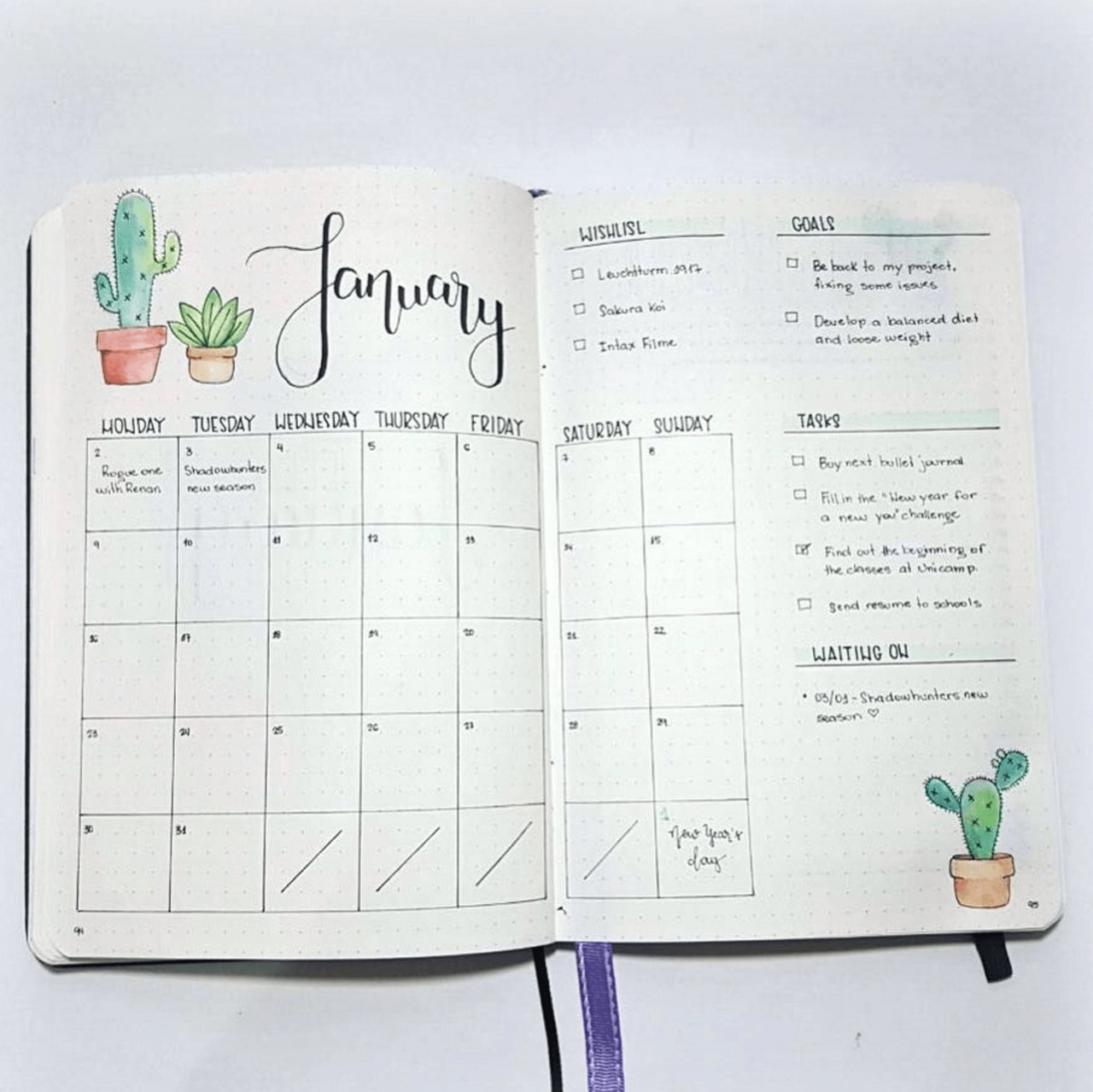 layout, spread, bullet and monthly