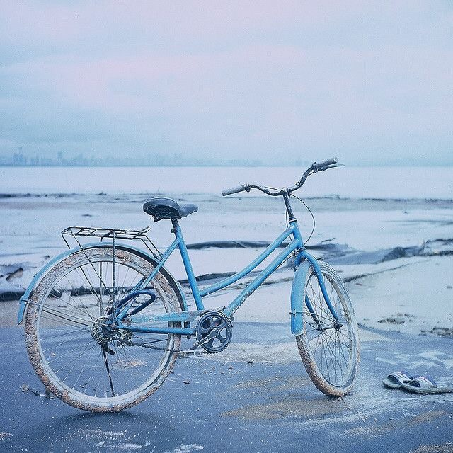 blue, pastel, bicycle and water
