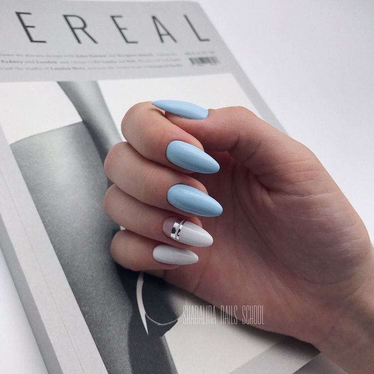 aestheric, baby blue nails, beauty and blue nails