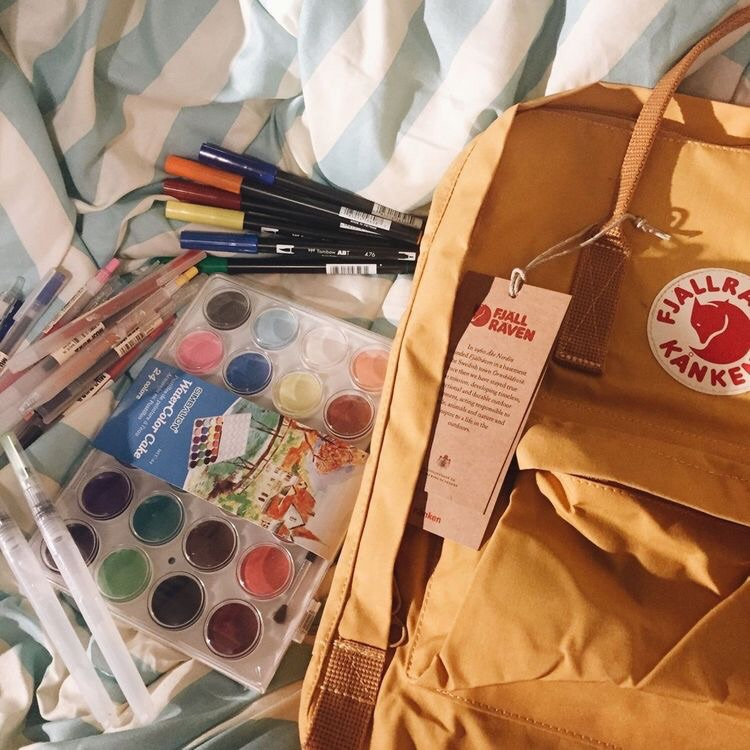 watercolour, colour, bag and school