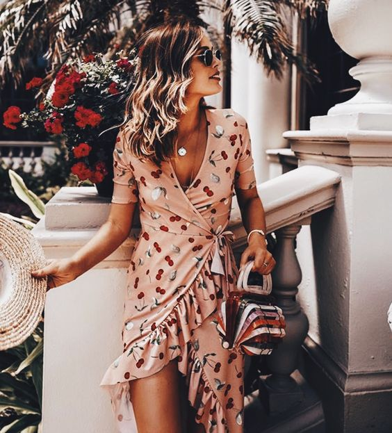 fashion, summer, wrap dress and Nude