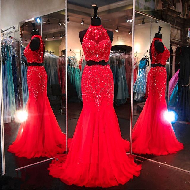 red prom dress and 2 pieces prom dress