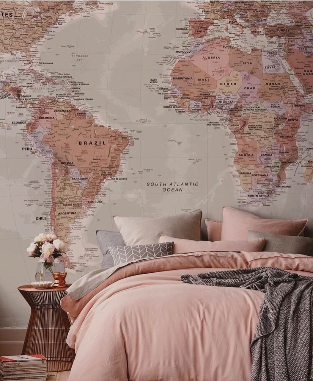 world, bed, ocean and map