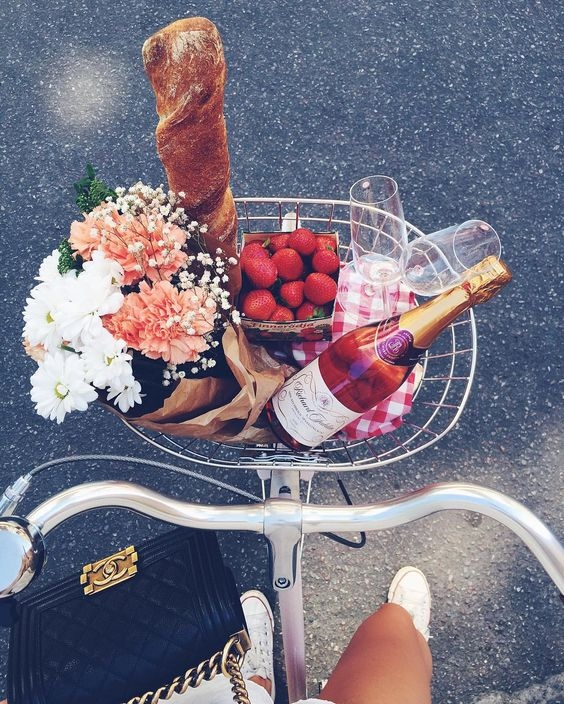 love, bicycle, flowers and food
