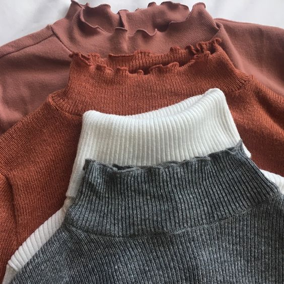 skirt, ulzzang, sweater and turtle neck
