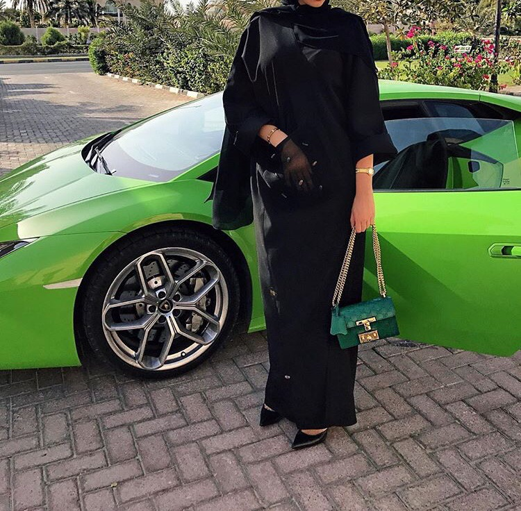 Lamborghini, bag, abaya and green