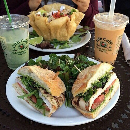 food+love, fashion+style, sandwich+salad and goals+delicious