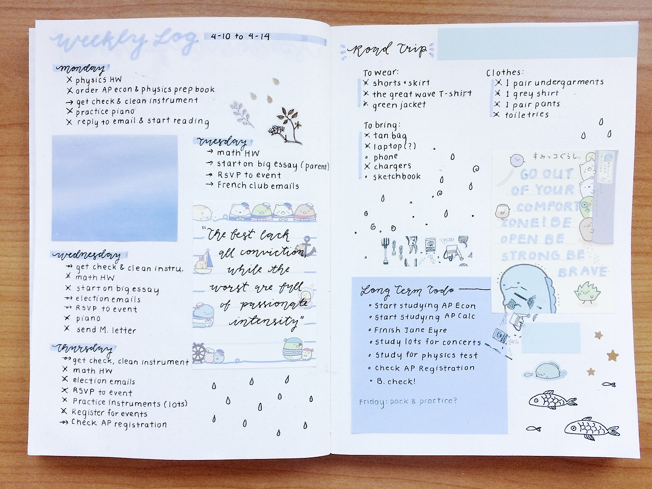 bullet journal, blue and bujo