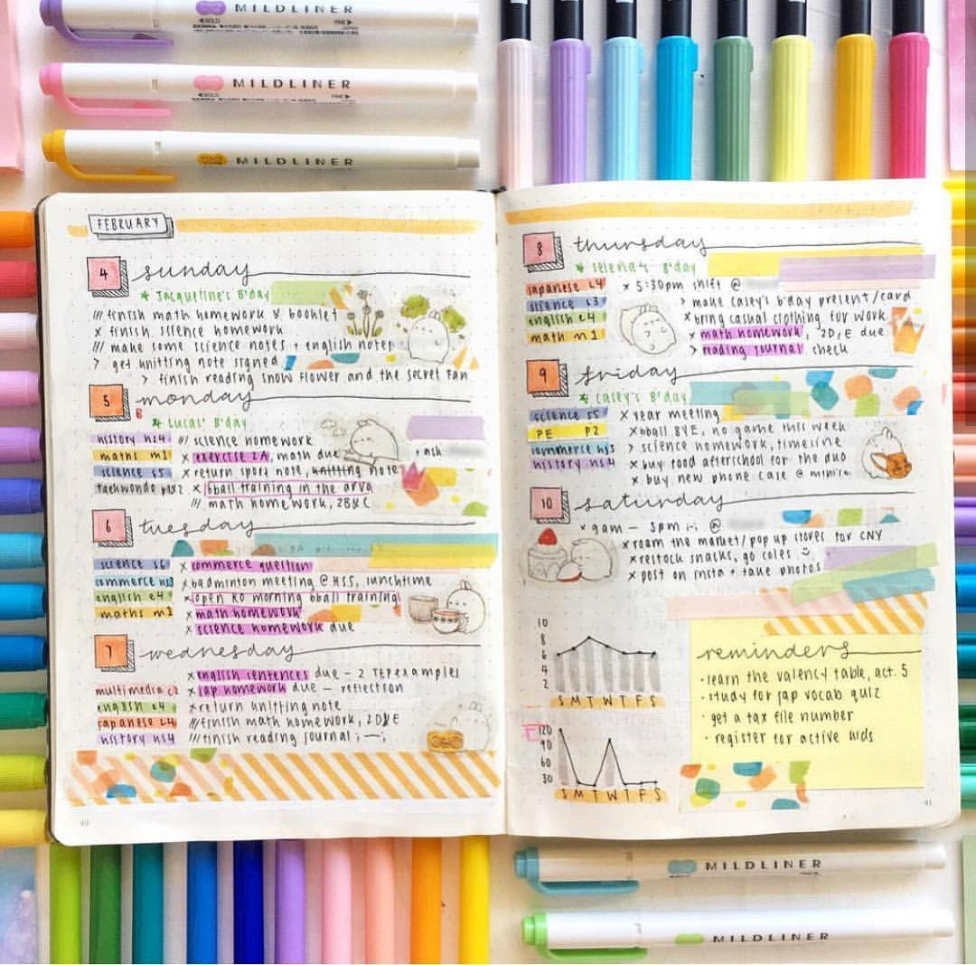 college, theme, bullet journal and rainbow