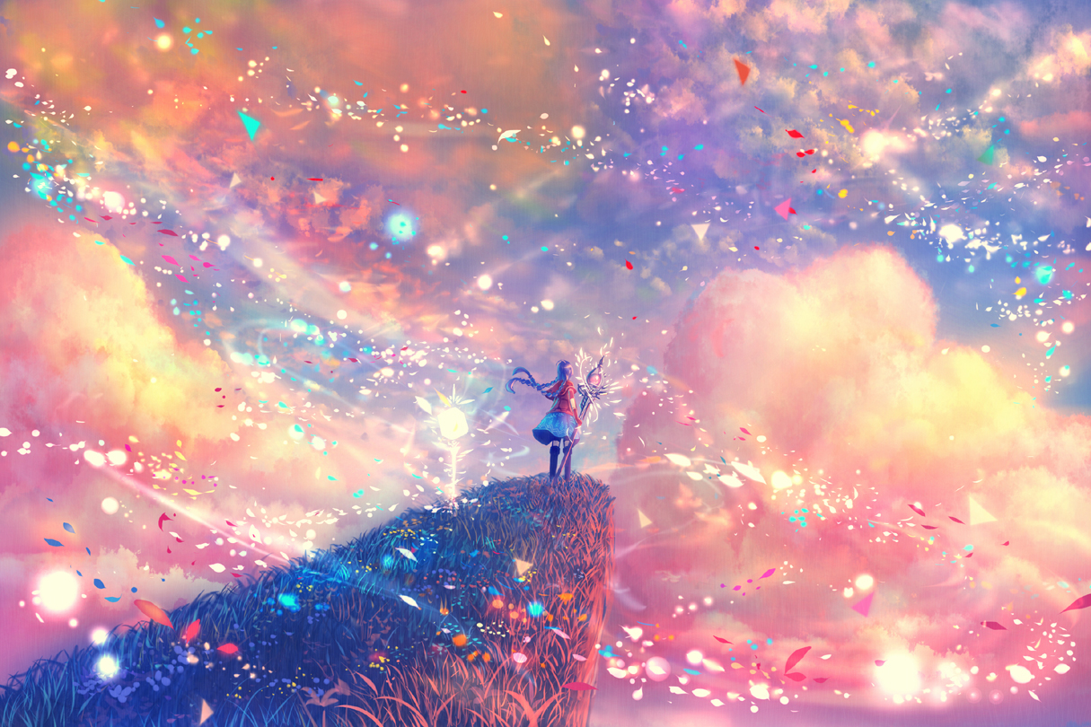 pink clouds, pink, anime and petals
