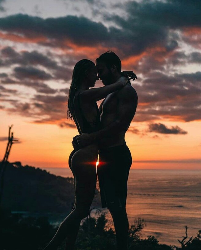 summer, couple, love and sky