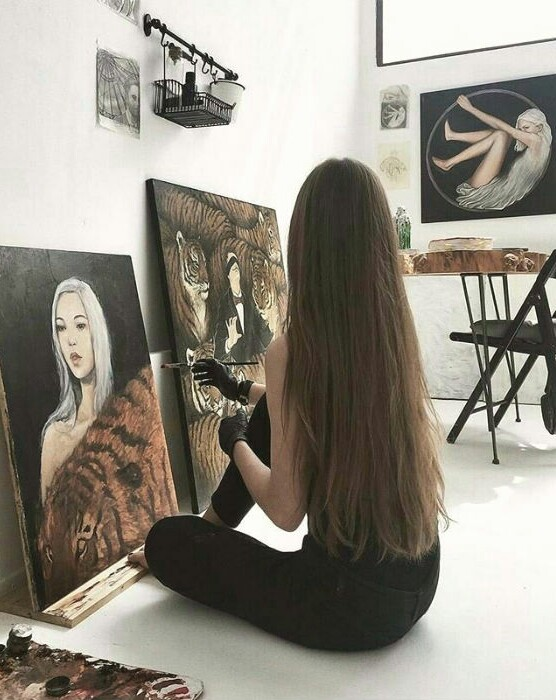 art, straight, painting and hair