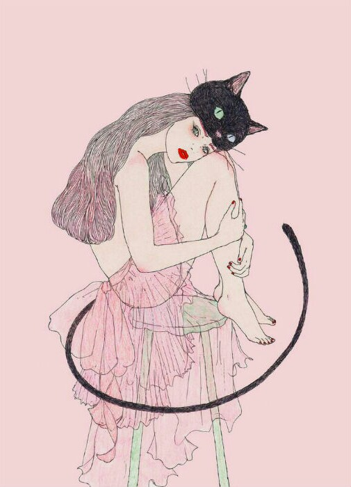 grunge, illustration, drawing and cat