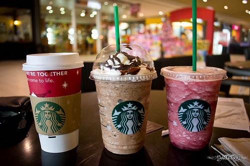 pink, starbucks, eat and drink