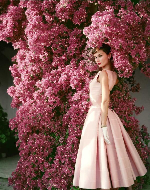 love, audrey hepburn, flowers and dress
