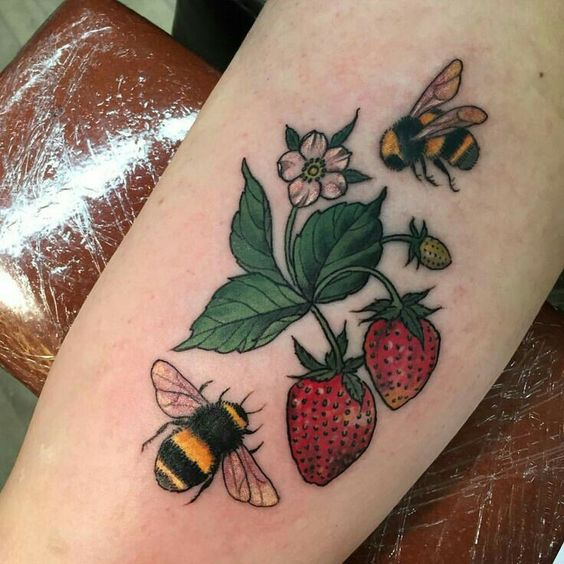 bee, drawing, strawberry and tattoo