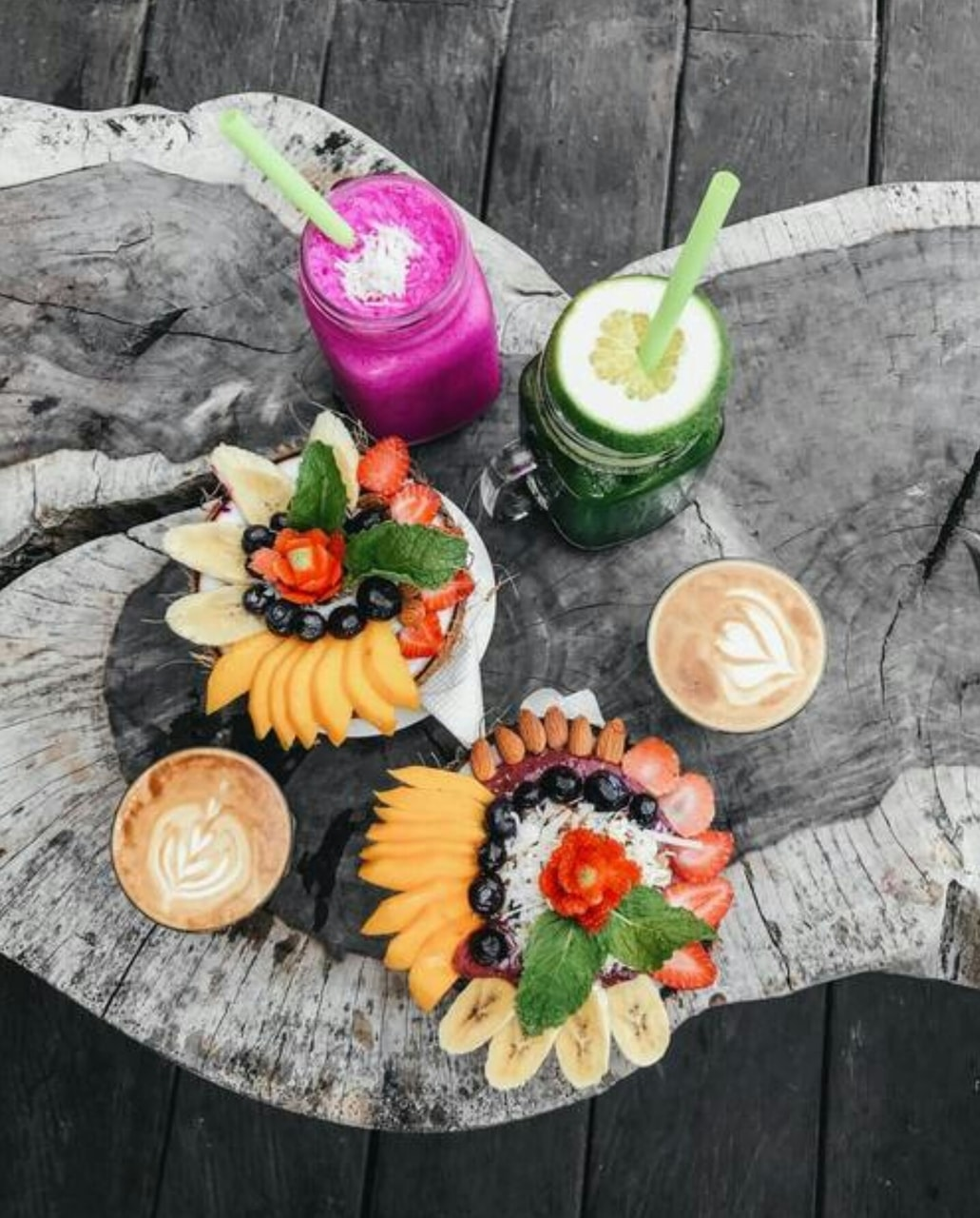 coffee, fruit, smoothies and colorful
