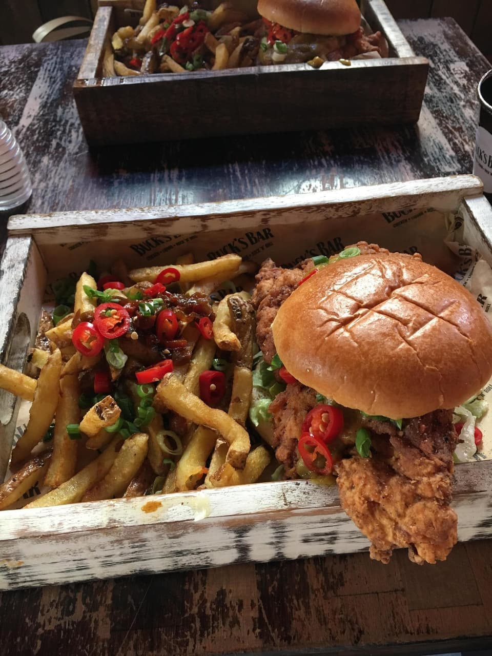 Chicken, burger, chips and food