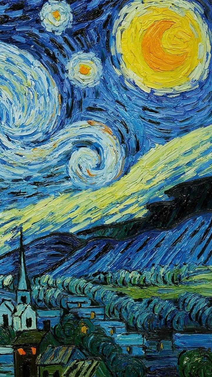 Starry Night Yellow Painting And Aesthetic Image 7611019 On Favim Com