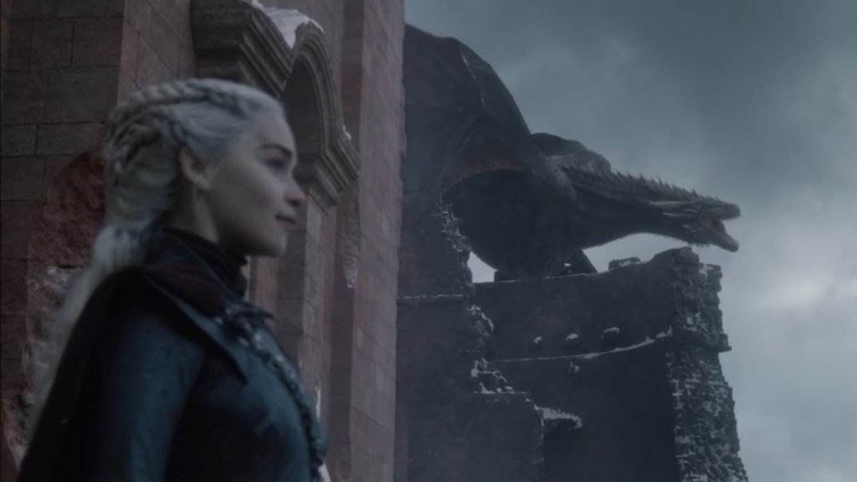 Queen, daenerys, dragons and drogon