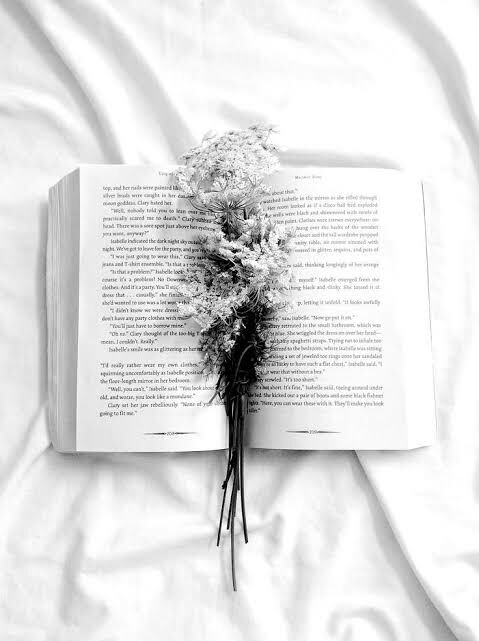 black, black and white, book and flowers