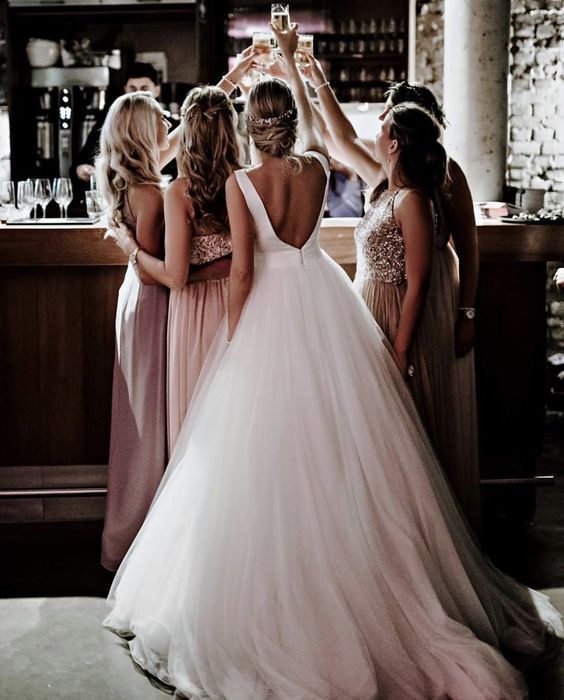 bride, bridesmaids, cheers and dress