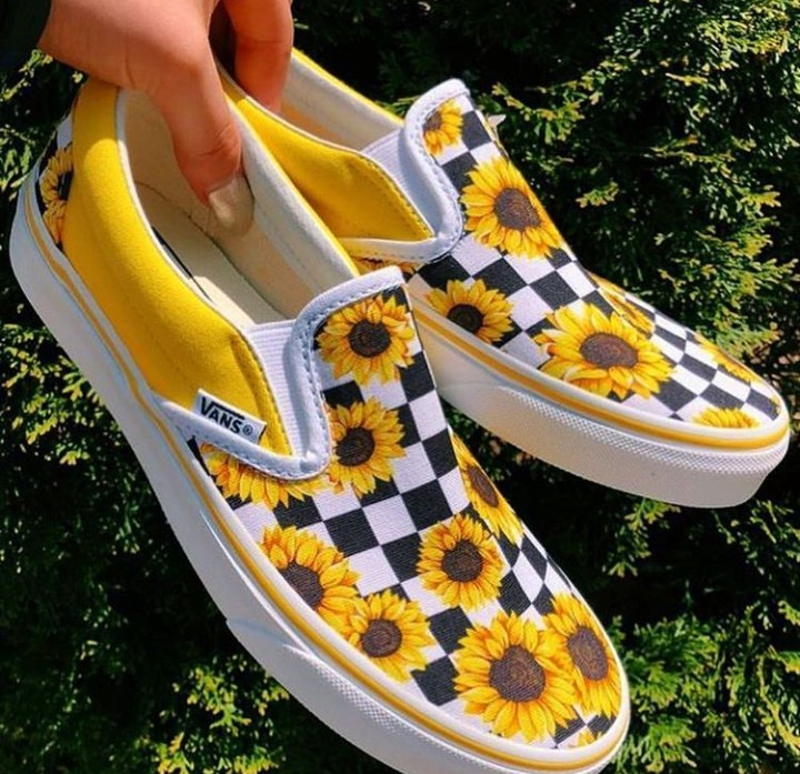 checkerboard, vans, shoes and sunflower