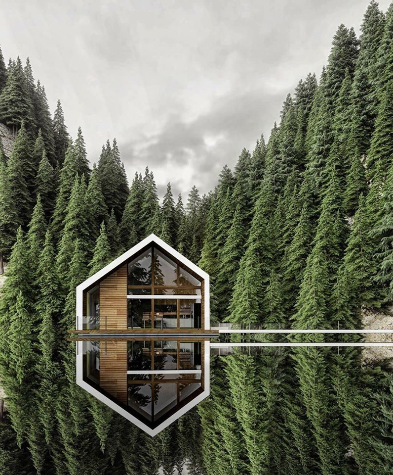 house, architecture, cabin and mountains