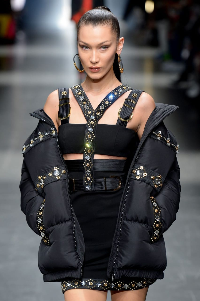 bella hadid, runway, Versace and aesthetic