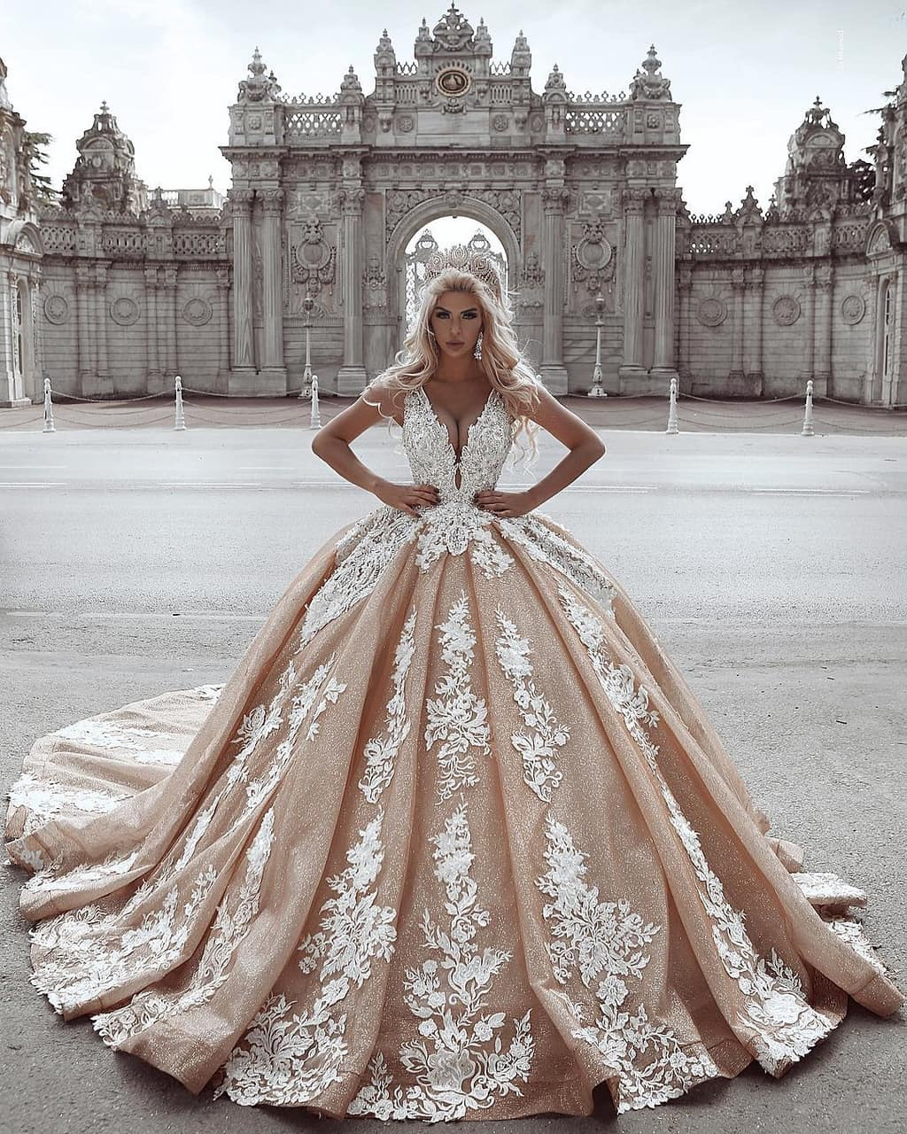 lace, ball gown, wedding dress and dress