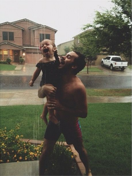 rain, dad, lovely and daughter