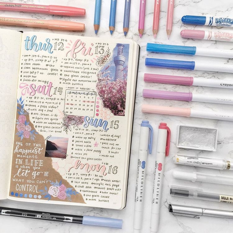 articles, bullet journal, colors and girls
