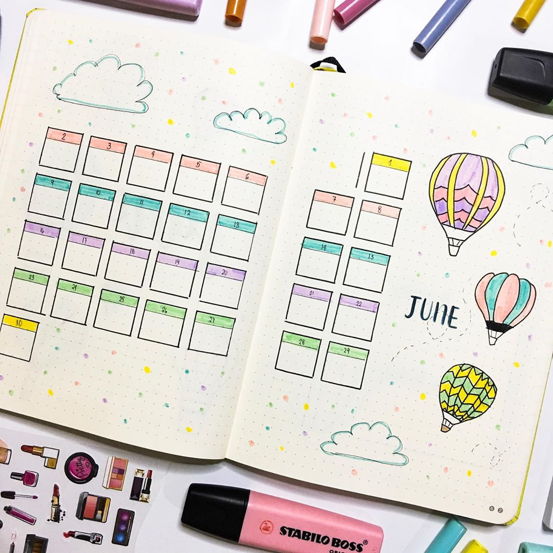 bujo monthly, bujo, planner and monthly