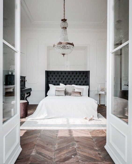apartment, bedroom, chandelier and decor
