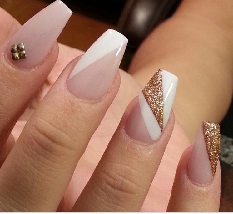 gold, nails, pink and white